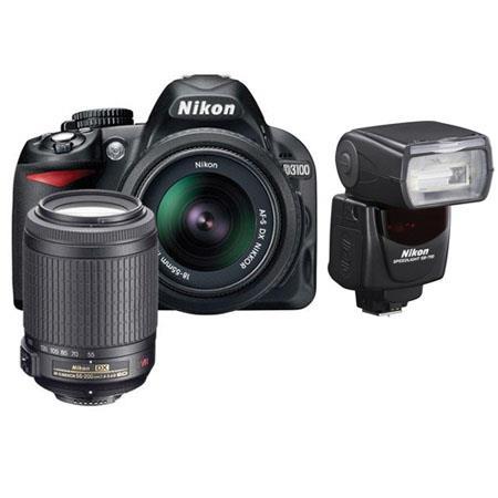 Nikon D3100 14.2 Megapixel Digital SLR Camera with 18-55mm VR Lens & 55-200mm VR Lens - Bundle - with SB-700 Speedlight Flash