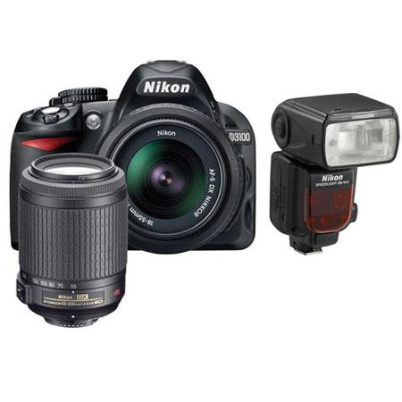Nikon D3100 14.2 Megapixel Digital SLR Camera with 18-55mm VR Lens & 55-200mm VR Lens - Bundle - with SB-910 Speedlight Flash