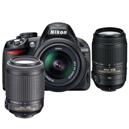 Nikon D3100 14.2 Megapixel Digital SLR Camera with 18-55mm VR Lens & 55-200mm VR Lens - Bundle - with 55-300mm VR Lens