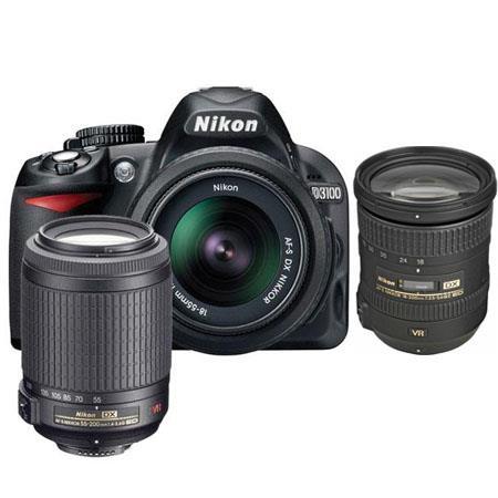 Nikon D3100 14.2 Megapixel Digital SLR Camera with 18-55mm VR Lens & 55-200mm VR Lens - Bundle - with 18-200mm VR Lens