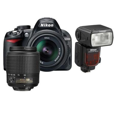 Nikon D3100 14.2 Megapixel Digital SLR Camera with 18-55mm DX Lens & 55-200mm DX Lens - Bundle - with SB-910 Speedlight Flash