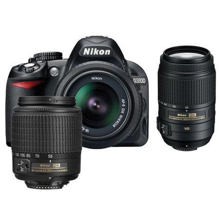 Nikon D3100 14.2 Megapixel Digital SLR Camera with 18-55mm DX Lens & 55-200mm DX Lens - Bundle - with 55-300mm VR Lens