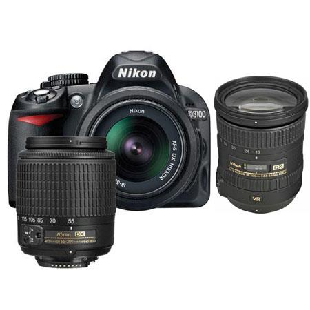 Nikon D3100 14.2 Megapixel Digital SLR Camera with 18-55mm DX Lens & 55-200mm DX Lens - Bundle - with 18-200mm VR Lens