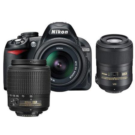 Nikon D3100 14.2 Megapixel Digital SLR Camera with 18-55mm DX Lens & 55-200mm DX Lens - Bundle - with 85mm VR Lens