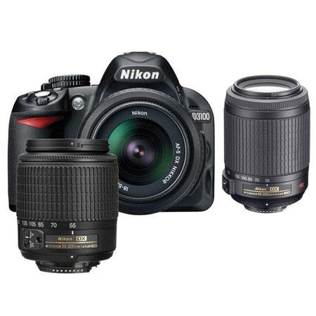Nikon D3100 14.2 Megapixel Digital SLR Camera with 18-55mm DX Lens & 55-200mm DX Lens - Bundle - with 55-200mm VR Lens