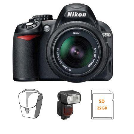 Nikon D3100 14.2 Megapixels Digital SLR Camera, 18-55mm NIKKOR VR Lens - Bundle - with Nikon SB-910 TTL AF Shoe Mount Speedlight, USA Warranty