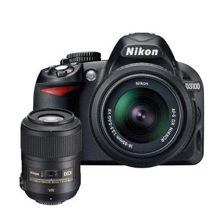 Nikon D3100 Digital SLR Camera with 18-55mm NIKKOR VR Lens, & Nikon 85mm f/3.5G AF-S DX Micro ED (VR-II) Lens - U.S.A. Warranty