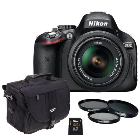 Nikon D3200 Digital SLR Camera with 18-55mm NIKKOR VR Lens, Black. Nikon USA Warranty - Bundle - with 16GB SD Memory Card, Camera Bag, and 3-Piece Filter Kit (UV, CPL, ND)