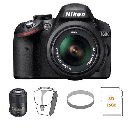 Nikon D3200 24.2 Megapixels Digital SLR Camera with 18-55mm NIKKOR VR Lens, Black - Bundle - with Nikon 85mm f/3.5G AF-S DX Micro ED (VR-II) Nikkor Lens - Nikon