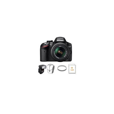 Nikon D3200 24.2 Megapixels Digital SLR Camera with 18-55mm NIKKOR VR Lens, Wi-Fi Connectivity, ISO 100 to 6400, Black - Bundle - with Nikon SB-700 TTL AF Shoe