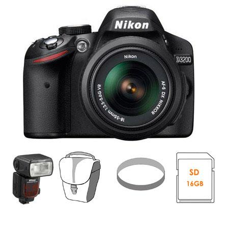 Nikon D3200 24.2 Megapixels Digital SLR Camera, 18-55mm NIKKOR VR Lens, Black - Bundle - with Nikon SB-910 TTL AF Shoe Mount Speedlight, USA Warranty