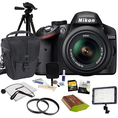 Nikon D3200 SLR Camera with 18-55mm NIKKOR VR Lens, Black - Bundle With 32GB SD Memory Card, Camera Holster Bag, Pro Optic 52mm CPL/UV Filter, Spare Battery, New Leaf 3 Year (Spills & Drops) Warranty, Tripod, Cleaning Kit, SD Card Case, Flashpoint 160 Led