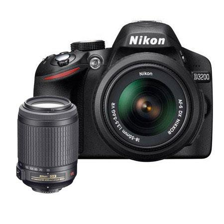 Nikon D3200 24.2 Megapixels Digital SLR Camera with 18-55mm NIKKOR VR Lens, Black & Nikon 55-200mm f/4-5.6G ED-IF AF-S DX VR Vibration Reduction Lens U.S.A