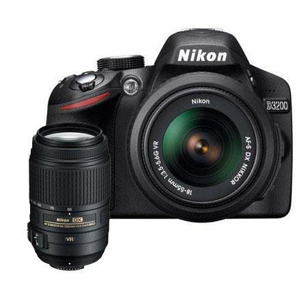 Nikon D3200 24.2 Megapixels Digital SLR Camera with 18-55mm NIKKOR VR Lens, Black & Nikon 55-300mm f/4.5-5.6G ED AF-S DX VR II Vibration Reduction Lens USA