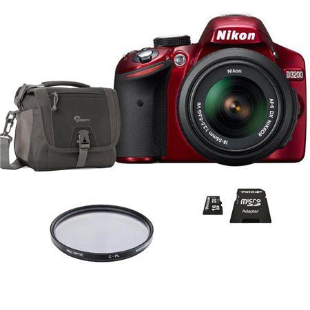 Nikon D3200 Digital SLR Camera with 18-55mm NIKKOR VR Lens, Red - Bundle - with 16GB SD Memory Card, Camera Bag, Pro Optic 52mm Photo Essentials Filter Kit