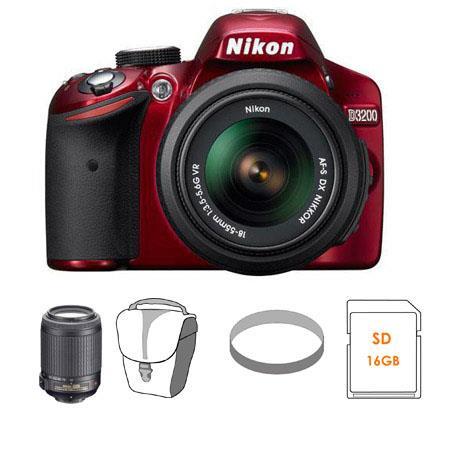 Nikon D3200 24.2 Megapixel Digital SLR Camera with 18-55mm NIKKOR VR Lens - Red - Refurbished by Nikon U.S.A.