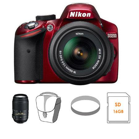 Nikon D3200 24.2MP Digital SLR Camera with 18-55mm NIKKOR VR Lens, Red - Bundle - with Nikon 55-300mm f/4.5-5.6G ED AF-S DX VR II Lens, USA Warranty