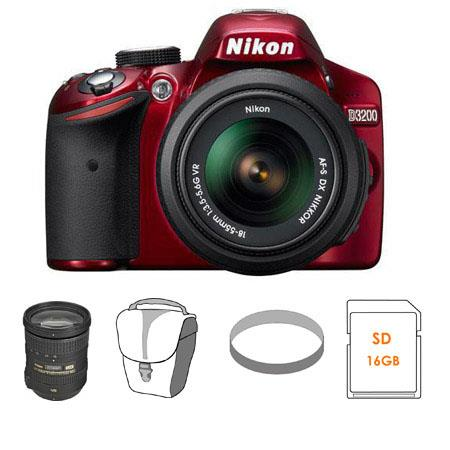Nikon D3200 24.2 Megapixels Digital SLR Camera with 18-55mm NIKKOR VR Lens, Red - Bundle - with Nikon 18-200mm f/3.5-5.6G ED IF AF-S DX VR II Lens - Nikon USA W