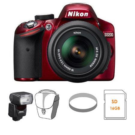 Nikon D3200 24.2 Megapixels Digital SLR Camera with 18-55mm NIKKOR VR Lens, Wi-Fi Connectivity, ISO 100 to 6400, Red - Bundle - with Nikon SB-700 TTL AF Shoe Mo