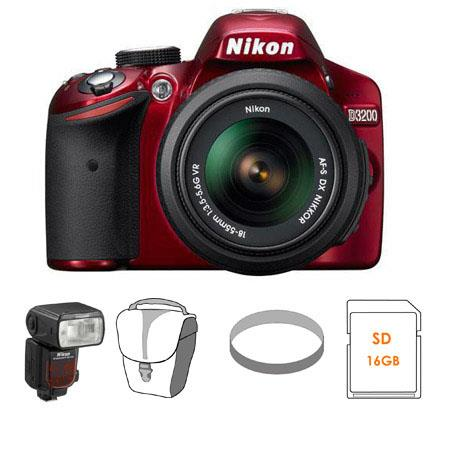 Nikon D3200 24.2 Megapixels Digital SLR Camera, 18-55mm NIKKOR VR Lens, Red - Bundle - with Nikon SB-910 TTL AF Shoe Mount Speedlight, USA Warranty