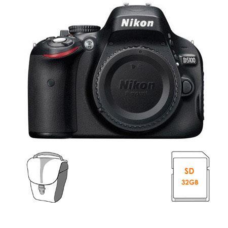 Nikon D5100 DX-Format Digital SLR Camera Body - Bundle - with 32GB SD Memory Card, Camera Bag