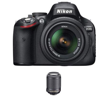 "Nikon D5100 16.2MP DX-Format 3"" LCD SLR Camera Bundle with 18-55mm, 55-200mm VR Lenses and Bonus 8GB SD Card"