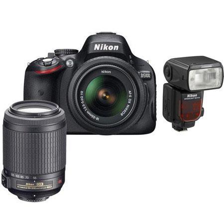 Nikon D5100 DX-Format Digital Camera with 18-55mm VR Lens & 55-200mm VR Lens, Camera Case, Nikon DVD - Bundle - with SB-910 Speedlight Flash