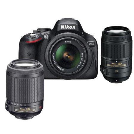 Nikon D5100 DX-Format Digital SLR Camera with 18-55mm & 55-200mm VR Lens, Camera Case & Nikon DVD - Bundle - with 55-300mm VR Lens