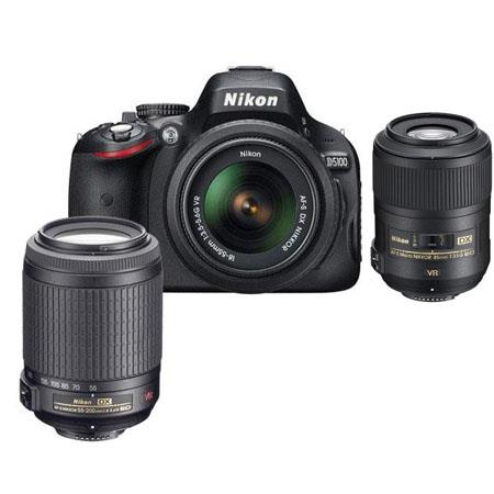 Nikon D5100 DX-Format Digital Camera with 18-55mm VR & 55-200mm VR Lens, Camera Case, Nikon DVD - Bundle - with 85mm VR Lens