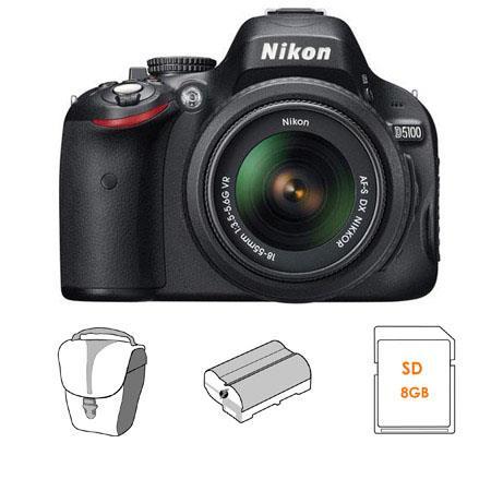Nikon D5100 Digital SLR Camera Kit with 18mm - 55mm VR Lens, 8GB SD Memory Card, Spare Nikon EN-EL14 Rechargeable Lithium-ion Battery, Slinger Camera Bag - FREE