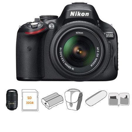 Nikon D5100 DX-Format Digital SLR Camera Kit with 18-55mm f/3.5-5.6G AF-S DX (VR) Lens - Bundle - 55-300mm f/4.5-5.6G ED AF-S DX VR II Lens, 32GB SDHC Memory Ca