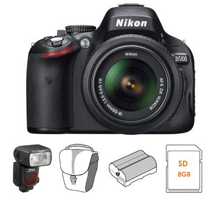 Nikon D5100 DX-Format Digital SLR Camera Kit with 18mm - 55mm f/3.5-5.6G AF-S DX (VR) Lens - Bundle - with Nikon SB-910 TTL AF Shoe Mount Speedlight, USA Warran