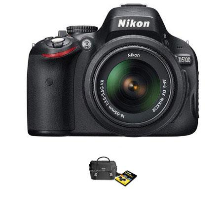 Nikon D5100 DX-Format Digital SLR Camera Kit with 18-55mm f/3.5-5.6G AF-S DX (VR) Lens - with Nikon D-SLR Camera Bag with 'Fast Fun + Easy 5' DVD set FREE