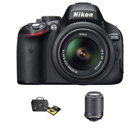 Nikon D5100 Digital SLR Camera with 18mm - 55mm f/3.5-5.6G AF-S DX (VR) Lens, & 55mm - 200mm f/4-5.6G ED AF-S VR Zoom Lens U.S.A. Warranty, INCLUDES FREE: N