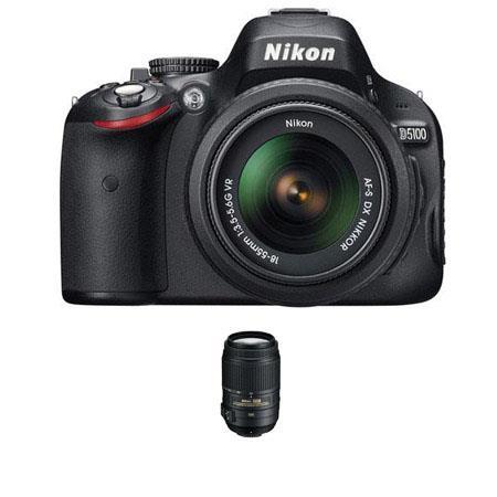 Nikon D5100 Digital SLR Camera with 18-55mm NIKKOR VR Lens, & Nikon 55 - 300mm f/4.5-5.6G ED AF-S DX VR II Zoom Lens, U.S.A. Warranty - FREE: Nikon D-SLR Ca