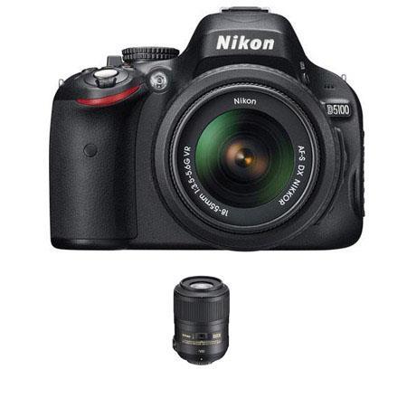Nikon D5100 Digital SLR Camera with 18-55mm NIKKOR VR Lens, & Nikon 85mm f/3.5G AF-S DX Micro ED (VR-II) Lens - U.S.A. Warranty