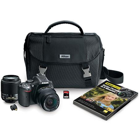 Nikon D5200 DX-Format Digital SLR Camera - Black - Kit with 18-55mm f/3.5-5.6G AF-S DX Lens & 55-200mm f/4-5.6G ED AF-S DX Lens, WU-1a Wireless Mobile Adapter, 16 GB Card, DVD, Case