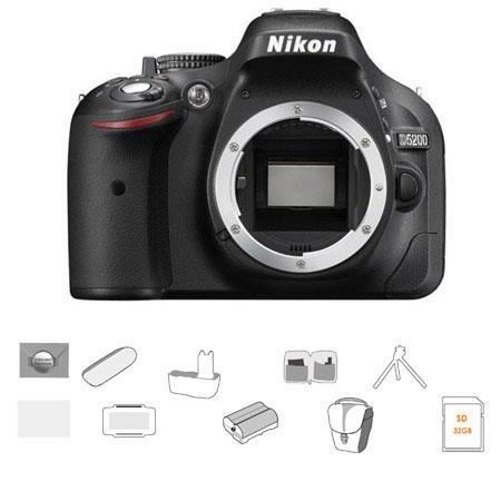 Nikon D5200 24.1 Megapixel DX-Format Digital SLR Camera Body, Black - Bundle - with 32GB SDHC Memory Card, Spare Li-Ion Battery, Carrying Case, New Leaf 3 Year (Spills & Drops) Warranty, Battery Grip, Tripod, Lens Cleaning Kit, Screen Protector, SD Card C