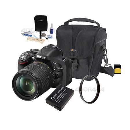 Nikon D5200 DX-Format Digital SLR Camera Kit with 18-105mm f/3.5-5.6G ED AF-S DX (VR) Lens, Black - Bundle - with 16GB SDHC Memory Card, Spare Li-Ion Battery, 67mm UV Filter, Carrying Case, Lens Cleaning Kit