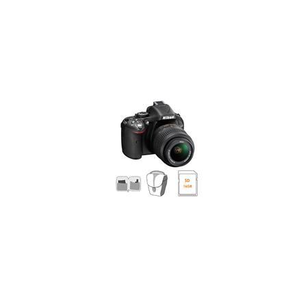 Nikon D5200 DX-Format Digital SLR Camera Kit with 18-55mm f/3.5-5.6G AF-S DX (VR) Lens, Black - Bundle - with 16GB SDHC Memory Card, Camera Bag, Lens Cleaning Kit