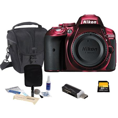 Nikon D5300 24.1 Megapixel DX-Format Digital SLR Camera Body - RED - Bundle With Camera Bag, 16GB Ultra SDHC CL10 Card, Cleaning Kit, SD Card Reader