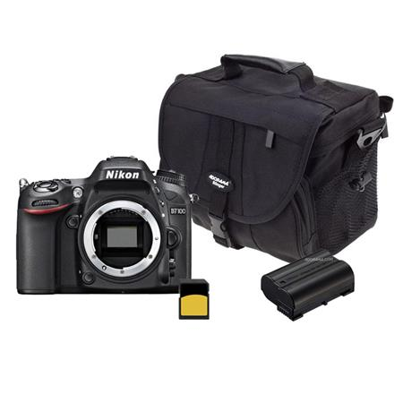 Nikon D7100 DX-format Digital SLR Camera Body, Black - Bundle - with Spare Li-Ion Battery, 32GB Class 10 SDHC Memory Card, Carrying Case