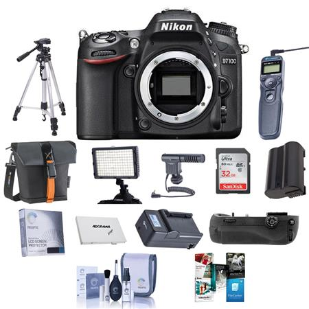 Nikon D7100 DX-format Digital SLR Camera Body, Black - Bundle - with 32GB Class 10 SDHC Memory Card, Spare Li-Ion Battery, New Leaf 3 Year (Spills & Drops) Warranty, Rapid Battery Charger, Carrying Case, Cleaning Kit, SD Card Case, Sunpack Tripod, Digital Radio Remote, Glass Screen Protector