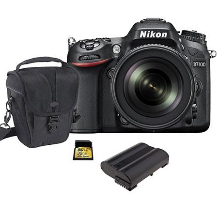 Nikon D7100 DX-format Digital SLR Camera Body, Black With NIKKOR 18-140mm f/3.5- 5.6G ED VR Lens- Bundle - with Spare Li-Ion Battery, 32GB Class 10 SDHC Memory Card, Carrying Case
