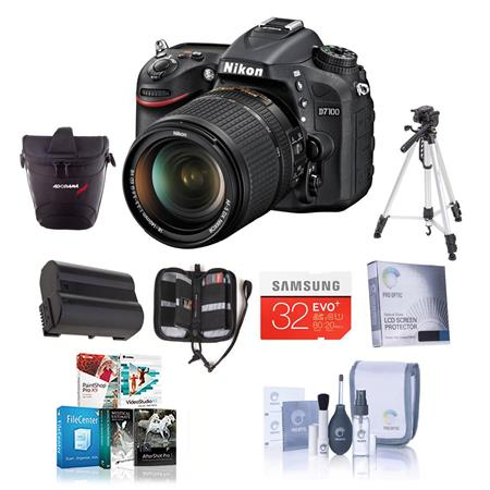 Nikon D7100 DX-format Digital SLR Camera Body, Black With NIKKOR 18-140mm f/3.5- 5.6G ED VR Lens- Bundle - with Spare Li-Ion Battery, 32GB Class 10 SDHC Memory Card, New Leaf 3 Year Extended Warranty ,Carrying Case , Cleaning Kit, Sunpak FlexPod Pro, Gripper