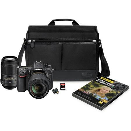 Nikon D7100 DX-format 24.1MP DSLR Camera Kit with 18-140mm f/3.5-5.6G ED VR Lens & 55-300mm f/4.5-5.6G ED VR Lens - Nikon Bundle with WU-1a Wireless Mobile Adapter, 32GB Class 10 SD Card, Pictures in 5 Minutes DVD, and D-SLR Pro Messenger Bag