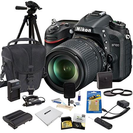 Nikon D7100 DX-format DSLR Camera with 18-105mm VR Lens - Bundle - with 32GB Cl 10 SDHC Memory Card, Spare Battery, New Leaf 3 Year (Spills & Drops) Warranty, 67mm Filter Kit, Battery Charger, Carrying Case, Cleaning Kit, SD card Case, Glass Screen Protector, Digital Radio Remote, Tripod