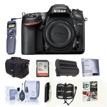 Nikon D7200 DX-format Digital SLR Camera Body, - Bundle With Camera Case, 32GB Class 10 SDHC Card, Spare Battery, Cleaning Kit, Screen Protector, Wired Remote Shutter Trigger With Cable, Memory Card Wallet, Sd Card Reader