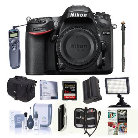 Nikon D7200 DX-format Digital SLR Camera Body, - Bundle With Camera Case, 64GB Class 10 SDXC Card, Spare Battery, Cleaning Kit, Bogen Monopod, 160 Led Shoe Mount Video Light, Wired Remote Shutter Trigger With Cable, Memory Wallet, Sd Card Reader, Screen Protector