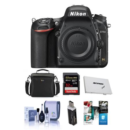 Nikon D750 FX-Format Digital SLR Body Only Camera, - Bundle With Camera Bag, 32GB Class 10 SDHC Card, Cleaning Kit, SD Card Case, SD Card Reader